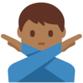 Man Gesturing No: Medium-Dark Skin Tone on Twitter Twemoji 13.0