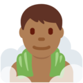 Man in Steamy Room: Medium-Dark Skin Tone on Twitter Twemoji 13.0