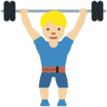 Man Lifting Weights: Medium-Light Skin Tone on Twitter Twemoji 13.0