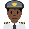 Man Pilot: Dark Skin Tone on Twitter Twemoji 13.0