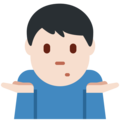 Man Shrugging: Light Skin Tone on Twitter Twemoji 13.0
