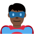 Man Superhero: Dark Skin Tone on Twitter Twemoji 13.0