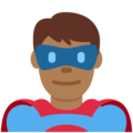 Man Superhero: Medium-Dark Skin Tone on Twitter Twemoji 13.0
