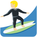 Man Surfing: Medium-Light Skin Tone on Twitter Twemoji 13.0