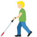 Man with White Cane: Medium-Light Skin Tone on Twitter Twemoji 13.0