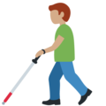 Man with White Cane: Medium Skin Tone on Twitter Twemoji 13.0