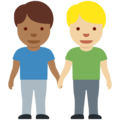 Men Holding Hands: Medium-Dark Skin Tone, Medium-Light Skin Tone on Twitter Twemoji 13.0