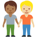 People Holding Hands: Medium-Dark Skin Tone, Medium-Light Skin Tone on Twitter Twemoji 13.0