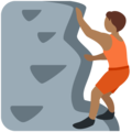 Person Climbing: Medium-Dark Skin Tone on Twitter Twemoji 13.0