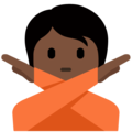 Person Gesturing No: Dark Skin Tone on Twitter Twemoji 13.0