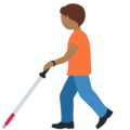 Person with White Cane: Medium-Dark Skin Tone on Twitter Twemoji 13.0
