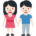 Woman and Man Holding Hands: Light Skin Tone on Twitter Twemoji 13.0