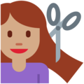 Woman Getting Haircut: Medium Skin Tone on Twitter Twemoji 13.0