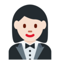 Woman in Tuxedo: Light Skin Tone on Twitter Twemoji 13.0