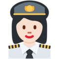 Woman Pilot: Light Skin Tone on Twitter Twemoji 13.0