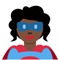 Woman Superhero: Dark Skin Tone on Twitter Twemoji 13.0