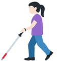 Woman with White Cane: Light Skin Tone on Twitter Twemoji 13.0
