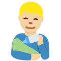Man Feeding Baby: Medium-Light Skin Tone on Twitter Twemoji 13.0.1
