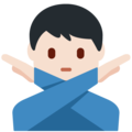 Man Gesturing No: Light Skin Tone on Twitter Twemoji 13.0.1
