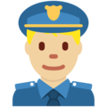 Man Police Officer: Medium-Light Skin Tone on Twitter Twemoji 13.0.1