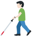 Man with White Cane: Light Skin Tone on Twitter Twemoji 13.0.1