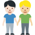 Men Holding Hands: Light Skin Tone, Medium-Light Skin Tone on Twitter Twemoji 13.0.1