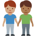 Men Holding Hands: Medium Skin Tone, Medium-Dark Skin Tone on Twitter Twemoji 13.0.1