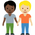 People Holding Hands: Dark Skin Tone, Medium-Light Skin Tone on Twitter Twemoji 13.0.1