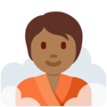 Person in Steamy Room: Medium-Dark Skin Tone on Twitter Twemoji 13.0.1