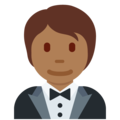 Person in Tuxedo: Medium-Dark Skin Tone on Twitter Twemoji 13.0.1