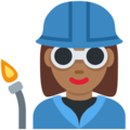 Woman Factory Worker: Medium-Dark Skin Tone on Twitter Twemoji 13.0.1