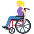 Woman in Manual Wheelchair: Medium-Light Skin Tone on Twitter Twemoji 13.0.1