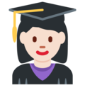 Woman Student: Light Skin Tone on Twitter Twemoji 13.0.1