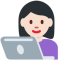 Woman Technologist: Light Skin Tone on Twitter Twemoji 13.0.1