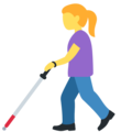 Woman with White Cane on Twitter Twemoji 13.0.1