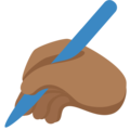 Writing Hand: Medium-Dark Skin Tone on Twitter Twemoji 13.0.1