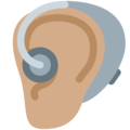 Ear with Hearing Aid: Medium Skin Tone on Twitter Twemoji 13.0.2