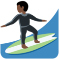 Man Surfing: Dark Skin Tone on Twitter Twemoji 13.0.2