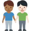 Men Holding Hands: Medium-Dark Skin Tone, Light Skin Tone on Twitter Twemoji 13.0.2