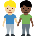 Men Holding Hands: Medium-Light Skin Tone, Dark Skin Tone on Twitter Twemoji 13.0.2