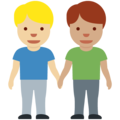 Men Holding Hands: Medium-Light Skin Tone, Medium Skin Tone on Twitter Twemoji 13.0.2