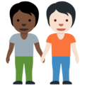 People Holding Hands: Dark Skin Tone, Light Skin Tone on Twitter Twemoji 13.0.2