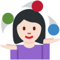 Woman Juggling: Light Skin Tone on Twitter Twemoji 13.0.2