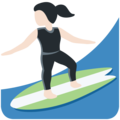 Woman Surfing: Light Skin Tone on Twitter Twemoji 13.0.2