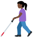 Woman with White Cane: Dark Skin Tone on Twitter Twemoji 13.0.2