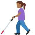 Woman with White Cane: Medium-Dark Skin Tone on Twitter Twemoji 13.0.2