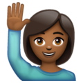 Person Raising Hand: Medium-Dark Skin Tone on WhatsApp 2.19.244