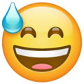 Grinning Face With Sweat on WhatsApp 2.19.244