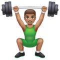 Person Lifting Weights: Medium Skin Tone on WhatsApp 2.19.244