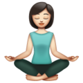 Woman in Lotus Position: Light Skin Tone on WhatsApp 2.19.244